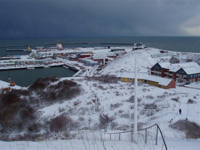 Helgoland im Schnee/Südhafen