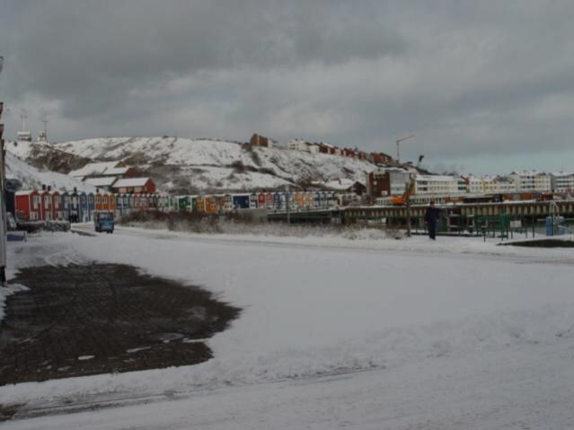 Helgoland im Schnee/am Scheibenhafen
