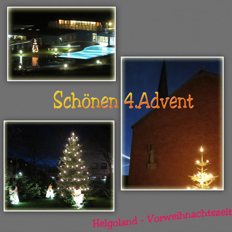 Collage mit festlich geschmückten Draußen-Weihnachtsbäumen .