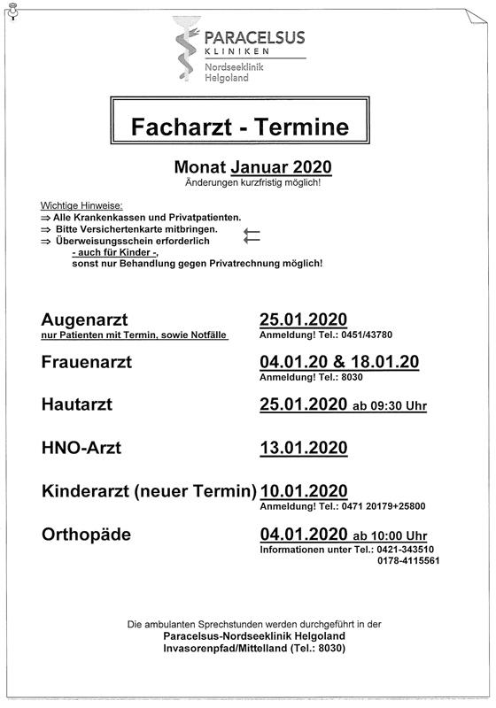 Plan der Facharzt-Termine auf Helgoland.
